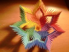 Tutorial: How to make 3d origami Rainbow Bowl by akvees on Etsy