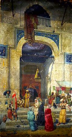 At the Mosque Door (1891) by Osman Hamdi Bey