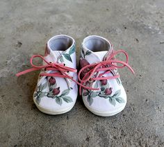 Fabric Baby Shoes Rose Floral Cotton