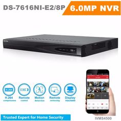 In Stock HIKVISION 16 Channel NVR Onvif DS-7616NI-E2/8P 16CH NVR 8 POE Interface 2SATA for HDD HD CCTV System Support Upgrade #Affiliate