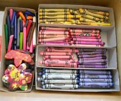 Did this w/ the kids today: sort crayons by color, toss broken ones into a bin to be used for art projects, used the unbroken crayons to draw since we were all inspired to draw w/ our sorted crayons!