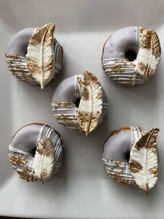 12 Wild One Boho Chic Feather Mini Donuts Doughnuts Birthday Party Treats Sweet Table Favors Grey White Gold We are sold out until Please contact us if you need an order before this date and we will try to work you into . Fancy Donuts, Birthday Party Treats, Olive Oil Cake, Delicious Donuts, Mini Cakes, Doughnuts, Chocolate Covered, Dessert Table, Food Art