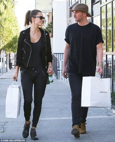 Alessandra Ambrosio went shopping at the ANINE BING store in Los Angeles last week. She left head to toe in ANINE BING wearing a suede jacket, sweatpants, Bianca boots and a classic black t-shir