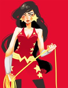 """megakato: """" Quick sketch and coloring to lull me to sleep. /lazily colored errthing lolol. Wonder Girl from SBFF. I love her thick eyebrows the most haha. All the chars in the short are great..."""