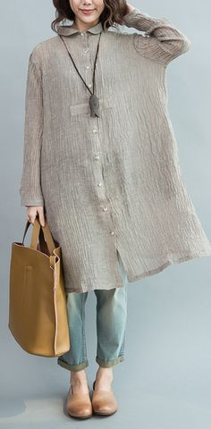 Top quality Gray pleated linen dresses oversize long sleeve linen blouses shift dress
