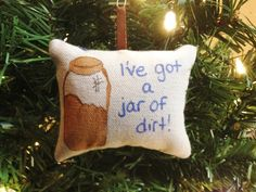 "Pirates of the Caribbean Captain Jack Sparrow ""I've Got a Jar of Dirt!"" Pillow Christmas Ornament Elizabeth Swann Will Turner FREE SHIPPING! by HollyAndHerHobbies on Etsy"