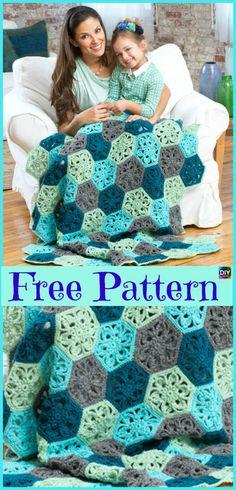 10 Beautiful Crochet Hexagon Free Patterns #freecrochetpatterns #hexagon #blanket #cushion #ottoman