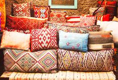 Patterned and colorful pillows in Morocco