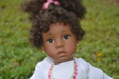 Jocelyn - Custom 18 inch African American/Black/Biracial/Ethnic Doll, Doll with Curly Ponytail Vinyl Cloth Valentine's Day Gift