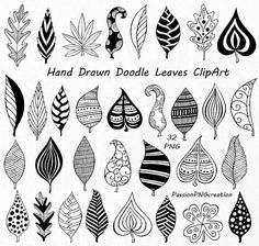 Flower Drawing Discover Hand Drawn Doodle Leaves Clipart leaves silhouette PNG EPS AI Vector Foliage Clip art for Personal and Commercial Use Zentangle Drawings, Zentangle Patterns, Doodle Drawings, Doodle Art, Zentangles, Doodle Frames, How To Doodle, Zen Doodle Patterns, Doodle Borders