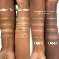 Anastasia Beverly Hills Stick Foundation swatches with MAC equivalents