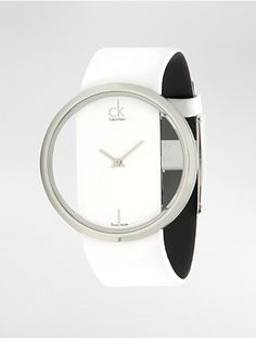 ck glam white leather watch -- gorgeous