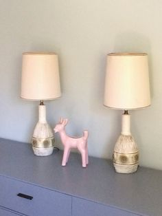 152fc83ff7e2 Pair of Mid Century Chalkware Chalk Ware Dresser Table Lamps