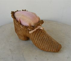 LARGE STRAW SHOE Woven Design Pin Cushion Pink Ribbon Border European? French? Woman's Boot Intriguing Beguiling Unique Vintage Sewing Item by OnceUpnTym on Etsy