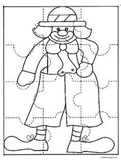 ΠΑΙΔΙ & ΔΗΜΙΟΥΡΓΙΑ : Φτιάχνω το δικό μου puzzle κλόουν ~ Los Niños Clown Crafts, Circus Crafts, Carnival Crafts, Preschool Circus, Preschool Crafts, Crafts For Kids, Circus Clown, Circus Theme, Theme Carnaval