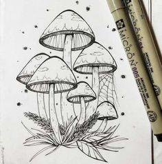garden illustration Garden Illustration Fun Id Mushroom Drawing, Mushroom Art, Pencil Art Drawings, Art Sketches, Coloring Books, Coloring Pages, Art Du Croquis, Mushroom Tattoos, Crystal Drawing