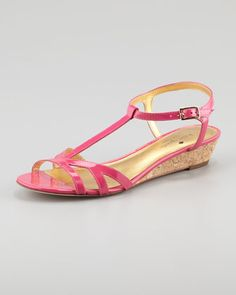 violet cork wedge sandal, pink by kate spade new york at Neiman Marcus.