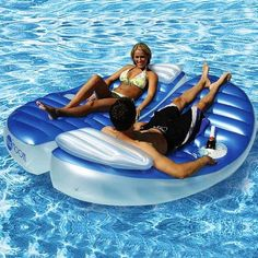 Blue Moon Inflatable Double Pool Float for $129 #CozyDays #InflatablePoolFun #PoolBeach