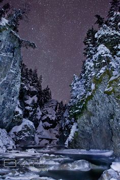 Stars above Kleanza Creek on a chilly January night. Kleanza Creek is located about 15kms east of Terrace, British Columbia