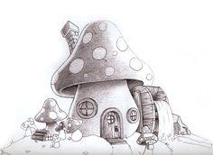 Cool Mushroom Drawings Mushroom house - illustration