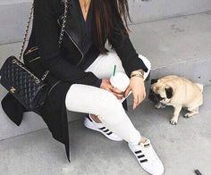 Fashion life. // Adidas, Chanel, Pug, White Jeans, Black Jacket, Fashion, Style, Inspo, Details