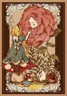 "Kunisaki, ""Alice in Wonderland"" illustration Lewis Carroll, Manga Anime, Anime Art, Chesire Cat, Alice Madness Returns, Image Manga, Were All Mad Here, Adventures In Wonderland, Wonderland Alice"
