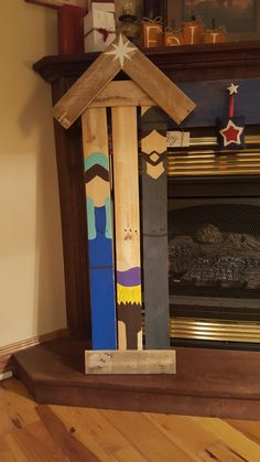 Pallet Wood Painted Nativity Scene