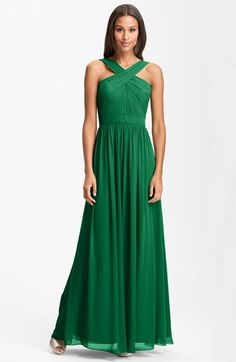 Free shipping and returns on ML Monique Lhuillier Bridesmaids Crisscross Chiffon Gown (Nordstrom Exclusive) at Nordstrom.com. Distinctive, pleated straps overlap to create the crisscross neckline of a finely ruched chiffon gown. A waist-cinching band enhances the shape of the fitted bodice and cascading, flared skirt.