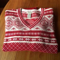 St. John's Bay Nordic Inspired Sweater Beautiful & festive. A perfect winter sweater. Red & white with delicate beading on chest (see photo #2). Materials: Cotton, angora, nylon & wool. Size: extra large. Please ask if you have questions. St. John's Bay Sweaters