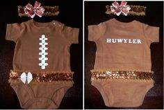 Ashlyn's Sunday Football Fun Day with Daddy outfit :) Jason saw just the plain football onesie the other day in the store...I told him as long as he let me girly it up a bit he could get it....so today I put my girly touches of rhinestones, bows and sequins to the boring onesie :)