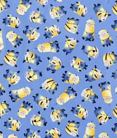 Quilting Treasures Universal 1 In A Minion Blue Tossed Minions Fabric