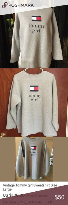 Vintage Tommy girl sweatshirt Size large third picture is the same shirt selling on eBay same size Tommy Hilfiger Tops Sweatshirts & Hoodies