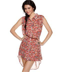 American Rag Dress, Sleeveless Belted Floral Print Asymmetrical Shirt - Juniors Dresses - Macy's