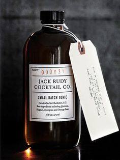 """""""Jack Rudy Tonic is a tonic syrup - kind of like a concentrated tonic without carbonation. You can add as much or as little to your favorite cocktails, or a classic Gin & Tonic. Our ideal recipe is as. Bottle Packaging, Brand Packaging, Bottle Labels, Packaging Design, Product Packaging, Tonic Water, Gin And Tonic, Vodka Tonic, Kombucha"""