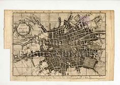 Dublin Street Directory Map - A new plan of Dublin, Dublin Street, Dublin City, City Library, Old Maps, City Maps, Cartography, Capital City, 17th Century, Vintage World Maps