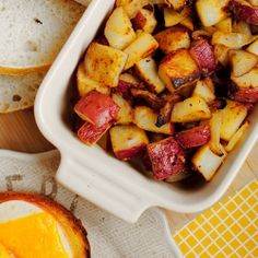 Honey-Dijon Roasted Potatoes are tossed in homemade honey-Dijon dressing before being roasted. Completely and utterly addicting!