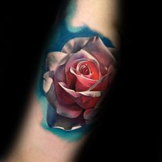 Watercolor 3d Realistic Mens Rose Flower Forearm Tatto Design Inspiration