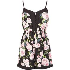 Cathryn Floral Strappy Playsuit in Black ($27) ❤ liked on Polyvore featuring jumpsuits, rompers, dresses, playsuits, black, black jump suit, floral jumpsuit, jumpsuits & rompers, black rompers and black jumpsuit romper