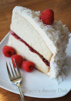 Amee's Savory Dish: Moist Vanilla Bean Cake w/Raspberry Chambord Filling & Coconut White Chocolate Buttercream