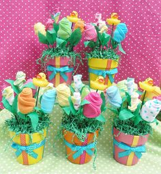 5 Baby Bouquet Flower Arrangement Shower by babyblossomco on Etsy, $150.00