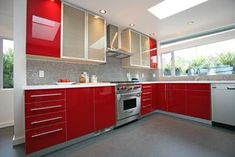red and mixed cabinets up top, like the grey touches