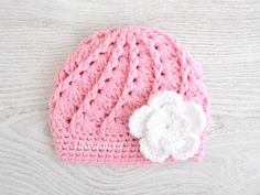 Pink  Baby Girl Hat,  Pink Flower Baby Beanie, Crochet Beanie, Size: 3 - 6 Mo READY to ship on Etsy, $12.00