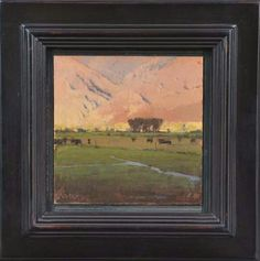 """Evening Hillside with Cows #1 - 5.5"""" x 5.5"""" - $1500"""