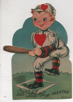 vintage die-cut mechanical Valentine card Just Catch Me Baseball1940s Used