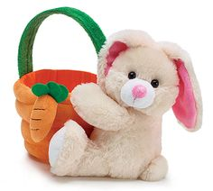 Plush bunny attached to a fabric covered plastic basket with carrot and green handle.<br><br>Bunny sitting: Basket including handle: 10 Opening of basket is Diamenter X of Easter Hunt, Easter Party, Bunny Plush, Bunny Toys, Funny Bunnies, Baby Bunnies, Easter Baskets, Easter Crafts, Monogram