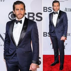 One of the reasons I've been asked to design so many navy tuxedos with black shawl collars lately is definitely STRONG red carpet moves like this from Jake Gyllenhaal .