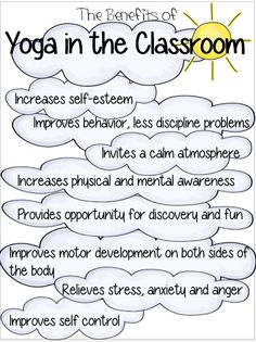 Yoga and physical exercise will be a daily routine in my classroom. Do you believe incorporating yoga into a classroom routine reduce discipline problems? Preschool Yoga, Anxiety And Anger, Mindfulness For Kids, Teaching Mindfulness, Mindfulness Activities, Childrens Yoga, Classroom Routines, Classroom Ideas, Yoga Lessons