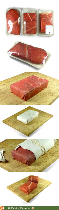 Steak Set, Mouth Watering Gift Wrap.  /pinner comment.../ well I thought this is an art ...