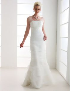 Trumpet/Mermaid Off-the-shoulder Floor-length Tulle Wedding Dress - USD $ 170.99