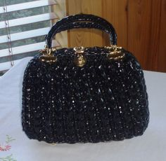Vintage 1950s Wicker Basket Handbag Black by ChevyLovesLaura, $35.00